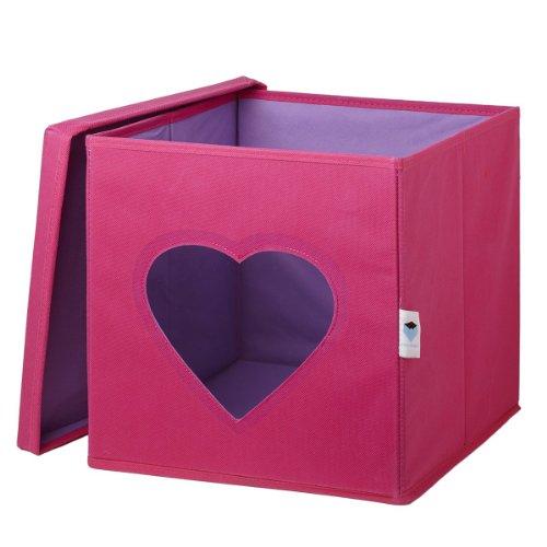 STORE.IT 750022 Spielzeugkiste mit Sichtfenster, 30 x 30 x 30 cm, Herz, rosa