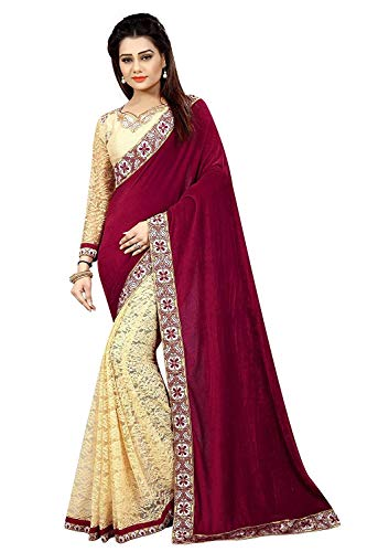 Dubai Creation Women\'s Velvet & Net Maroon color saree with blouse peise