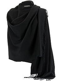 42fe41dbdae13 Charleselie94® Etole Châle Laine Echarpe Cachemire Poncho Hiver Noir -  STELLA - Femme