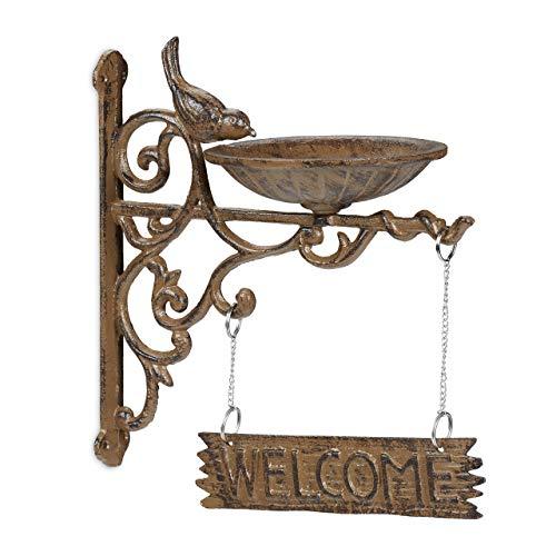 Relaxdays Vogeltränke Gusseisen, Welcome Schild, Gartendeko, Wandmontage, Futterstelle, Wasserschale f. Wildvögel, braun