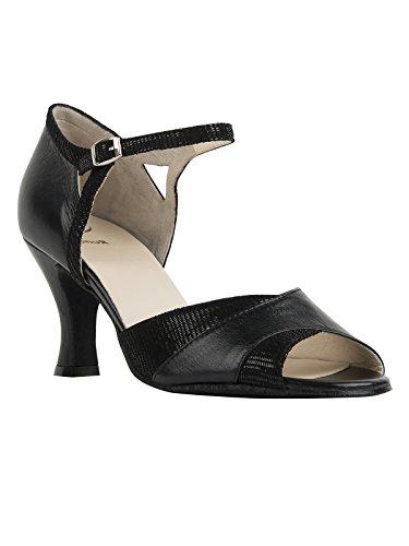 Torse de danse julia- premium line en cuir noir noir