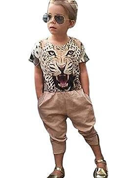 [Patrocinado]Ropa para chicas, RETUROM Fresco estilo niña camiseta leopardo impreso y pantalones ropa conjunto