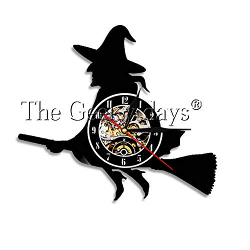 YLNEW Happy Halloween Night Wand Dekorative Schallplatte Wanduhr Schädel Skelett & Ghost Vintage Clock Wanduhr Horror Dekoration
