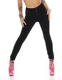 5331 Fashion4Young Damen Röhrenhose High Waist pants Treggings Leggings schwarz Gr. 34-42