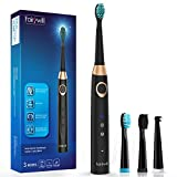 Electric Toothbrush,Fairywill Sonic Toothbrush 3 Optional Modes and 3 Replacement Heads for Adults, 4 Hours Charge Minimum 30 Days Use with 508 Black Version