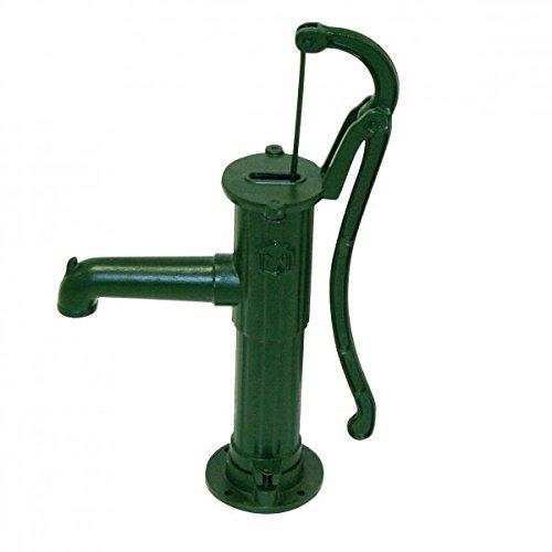 Bevo Handpumpe mit Rund-Flansch Länge 44 cm, Höhe 67 cm, Grauguß grün lackiert