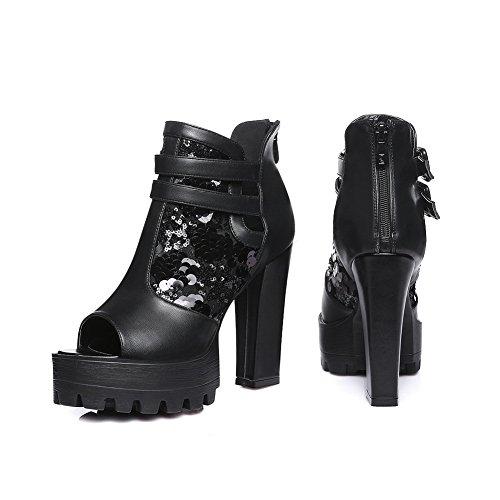 Adee Mädchen Peep-Toe-Polyurethan Pumpen Schuhe Schwarz
