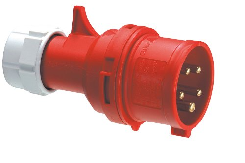 REV CEE GERÄTESTECKER 5-polig 16A 400V~ – Made in Europe ǀ CEE Stecker für Industrie Handwerk Landwirtschaft ǀ spritzwassergeschützt IP44 ǀ Farbe: rot
