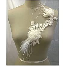 Huso: Calais encaje de flores de organza y plumas bordadas. Para el vestido de novia.