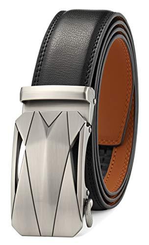 GFG Cinturón de cuero para hombres con hebilla automática 35mm...