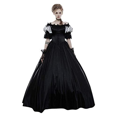 YEBIRAL Damen 1/2Ärmel Mittelalter Party Kleid Viktorianischen Königin Kleider Gothic Jahrgang Prinzessin Renaissance Kostüm Bodenlänge Maxikleid für Hochzeit, Karneval, (Robe Sexy Kapuzen Kostüm)