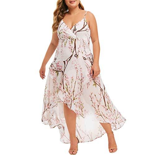 LILIGOD Frauen Groß Sling Kleid Damen Sexy V-Ausschnitt Party Kleid Cocktailkleid Casual Print Unregelmäßiges Kleid Drucken Lose Strandkleid Langes Kleid Ärmelloses Kleid Print Woven Beanie