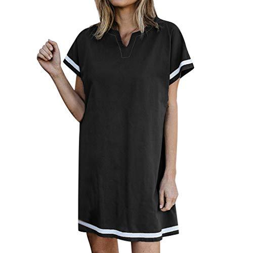 NNVNN Damen Freizeit Minikleid Kurzarm V-Ausschnitt Kleid Strandrock