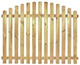 StaketenZaun 'Premium' 180x120/140cm - oben – kdi/V2A Edelstahl Schrauben verschraubt - aus getrocknetem Holz glatt gehobelt – oben gebogene Ausführung - kesseldruckimprägniert
