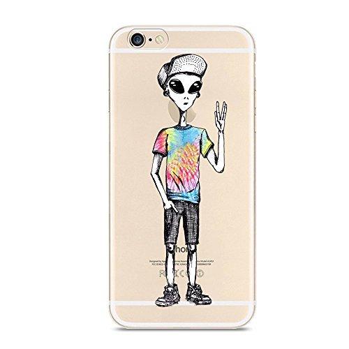 iPhone 6Plus 6S Plus Fall, Neuheit Alien Muster auf Weiches TPU Silikon Schutz Haut Ultra Slim & Klar mit Einzigartiger Art Design Funny Geschenk Bumper Back Cover für 6Plus/6S Plus, Super Star (90er-jahre-alien)