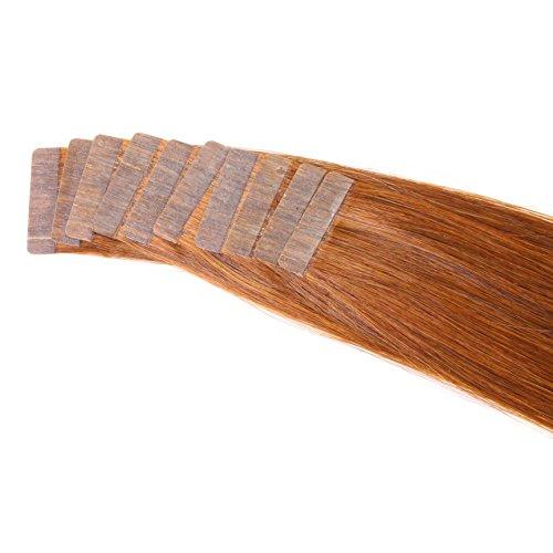 Just Beautiful Hair - 20 x 2.5 g Fasce Adesive Capelli Veri Remy Indiani, 45cm - #33 mogano, 1x20
