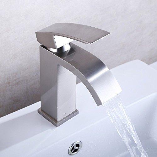 U-Enjoy Einhand-Wasserfall Top-Qualität Badezimmer-Eitelkeit-Wannen-Hahn-Mischer-Hahn Mit Extra Großen Rechteck Spout Nickel Gebürstet [Kostenloser Versand] (Tops Mit Eitelkeiten)