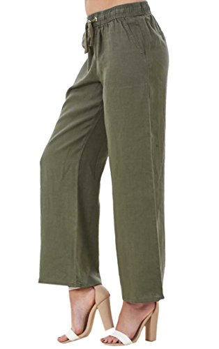 Ladies Linen Casual Trousers Hol...