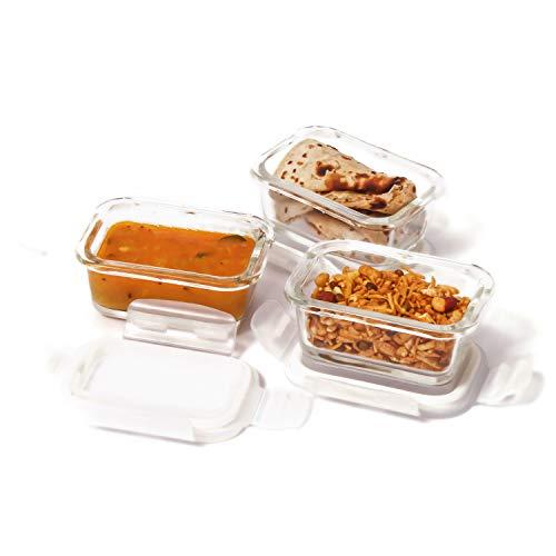 Femora Borosilicate Glass Microwave Safe Rectangle Container, Set of 3, 140ml