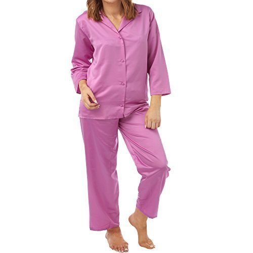 Satin Femmes Soie Set Pyjama Manches Longues Silky Été Pjs Framboise