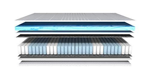 AM Qualitätsmatratzen - Gelschaum-Matratze 90x200cm H2 - Taschenfederkernmatratze Gelschaum 90 x 200 - Matratze mit integrierter 6cm Gelschaum-Auflage - 25cm Höhe - Made in Germany