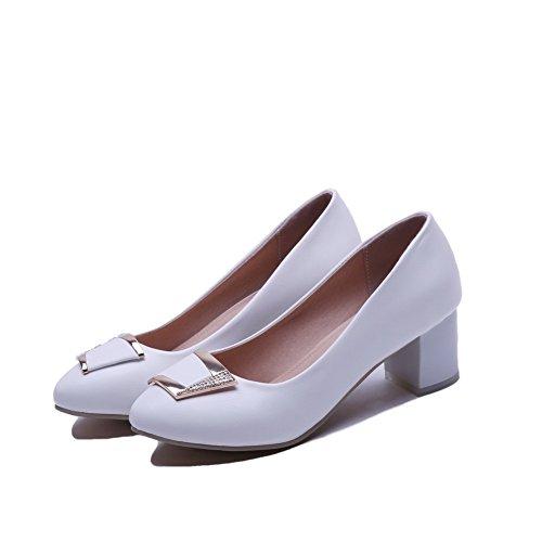 AllhqFashion Femme Rond Tire Pu Cuir Couleur Unie à Talon Correct Chaussures Légeres Blanc