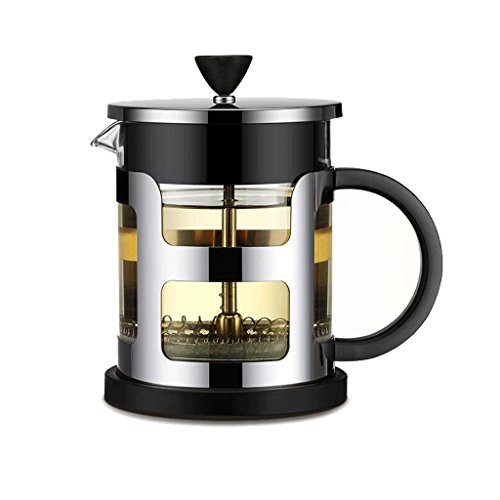 ZHAOJING Multifuncional Glass Coffee Pot Home Multifunción Cafetera Tea Filter Compression Filter Cafetera 600ml ( Color : Negro )