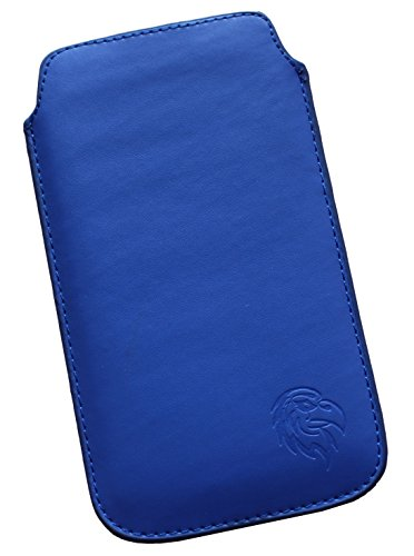 Schutz-Tasche passend fuer Samsung Galaxy J3 (2016) Duos, Pull tab Huelle fuer Handy herausziehbar, Etui genaeht mit Rausziehband, duennes Etui mit exklusivem Motiv Adler LE Dunkel-Blau