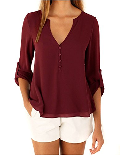 365-Shopping Damen Blusen Sommer V-Ausschnitt Langarm Lose Chiffon Blusen T-Shirt Tops (Asian L, Wine Red)