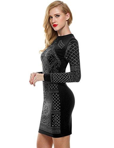 Meaneor Femme Midi Robe Crayon Manche Longue Slim Découpé Clubwear Eté Sexy Robe Cocktail Noir