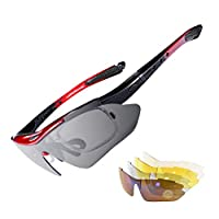 RockBros Polarized Sports Sunglasses UV Protection Cycling Glasses for Men Women Outdoor Running Driving Fishing Golfing Red