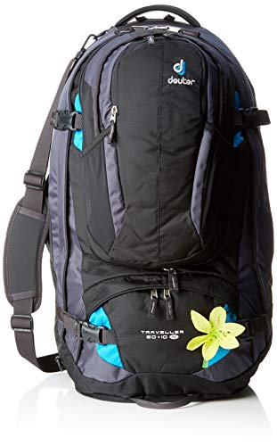 Deuter Damen Trekkingrucksack Traveller 60 plus 10 SL Black-Turquoise, 70 x 36 x 38 cm, 60 Liter