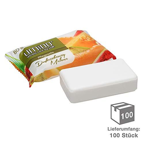 100 x UMIDO Seife 80 g Melone - Hand-Seife – Waschstück - Seifenstück für ihre Körperpflege - Festseife - 100 x 80 g (11.)