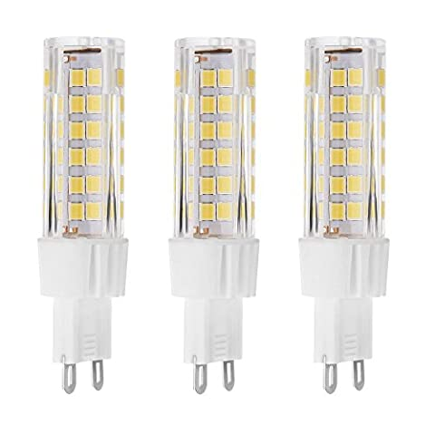 Rayhoo 3pcs Set G9 75-SMD 2835 LED Light Bulb Lamps 7 Watt AC 220V Non-dimmable Equivalent to 60W Halogen Track Bulb Replacement LED Bulbs Ceramic Lamps,500 Lumens, 3000K, Warm White