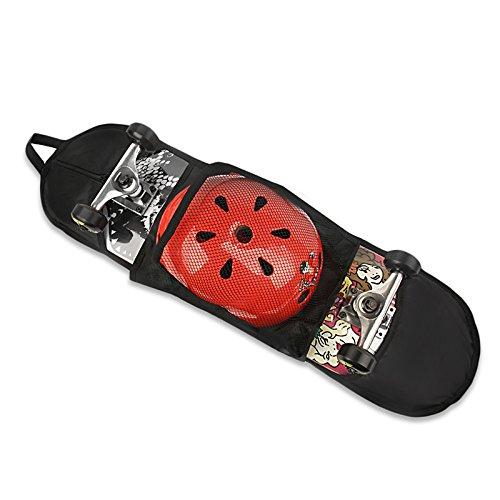 Wuudi Skateboard Tasche Unterstützung Schutz Single Schulter Skateboard Carry Rucksack