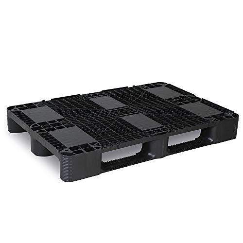 Kunststoffpalette 1200 x 800 x 145 mm aus PE-RE, anthrazit, mit Rand, 3 Kufen, Oberdeck durchbrochen, Gewicht 11 kg -