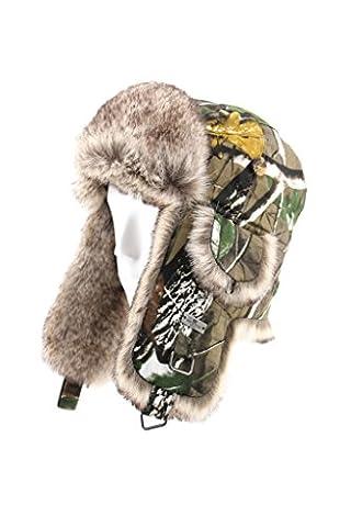 Fourrure d'Hiver en coton Motif camouflage en imitation fourrure Bomber Trapper Trooper chasse de ski snowboard Pilot Hat - Vert - X-Large
