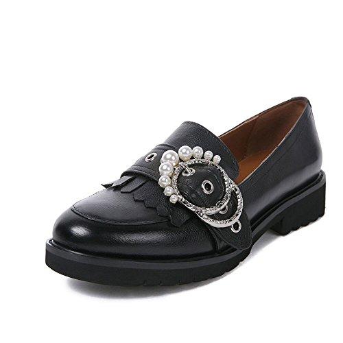 Damen Mokassin Loafers Flat Tassel Frauen Schwarz Halbschuhe Keilabsatz Pumps Schuhe Leder Niedriger Absatz Dicke Sohle breite Schuhe (38, Schwarz A)