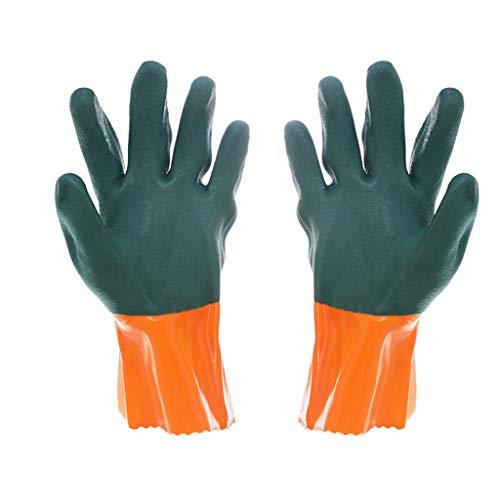SSSTDUANJY Industrielle Handschuhe, Anti-Korrosions- und ölbeständige PVC Rutschfeste Hochtemperaturverdickung, Geeignet für BAU, Outdoor, Küche, Ofen, Mikrowelle -