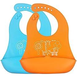 iRegro Baberos del bebé - menos cables, toallitas fácilmente limpio, suave y cómodo, mantiene su forma Con Easy Rolls arriba, ANCHO Food Catcher bolsillo, dos pieza juego de 2 colores (azul / naranja)