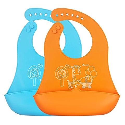 iRegro bavoir bébé - Moins mess, facile à nettoyer, souple et confortable, conserve sa forme (Robusto Silicone)