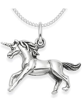 Sterling Silber Einhorn-Halskette auf 45,7cm Silber Kette Anhänger Einhorn–doppelseitig–Gewicht: 4.5Gms...