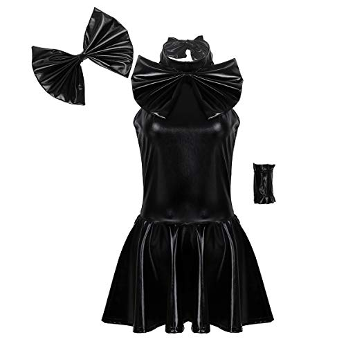 dd5ee3ae8358e iEFiEL Women's Wet Look Leather Bowknots Sailor Moon Cosplay Fancy Dress  Outfits Set Black Large