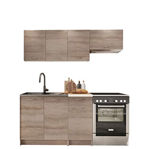Mirjan24 Küche Mela - Küchenblock/Küchenzeile, 5 Schrank-Module frei kombinierbar, Möbelplatte, Trüffel/Petra Beige, 29 x 80 x 56 cm