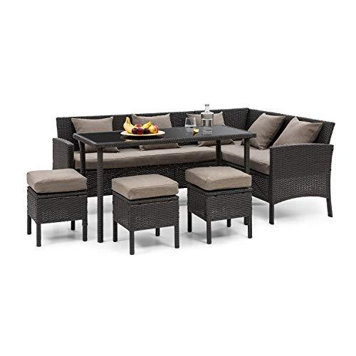 Blumfeldt titania dining lounge set • set da giardino • set da pranzo • set da 5 parti: divano angolare, tavolo e 3 sgabelli • 7 posti • cuscino 8 cm • 5 cuscini • poly rattan/acciaio • nero