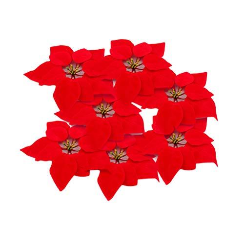 VORCOOL 20 STÜCKE Christbaumschmuck Künstliche Weihnachtsstern Blumenköpfe Home Haustür Kranz Tischdekoration Arrangements – Rot