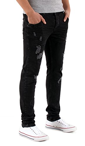 by-tex Herren Destroyed Look Jeanshose Slim Fit Jeans Hose Stretch Jeans A448 A448