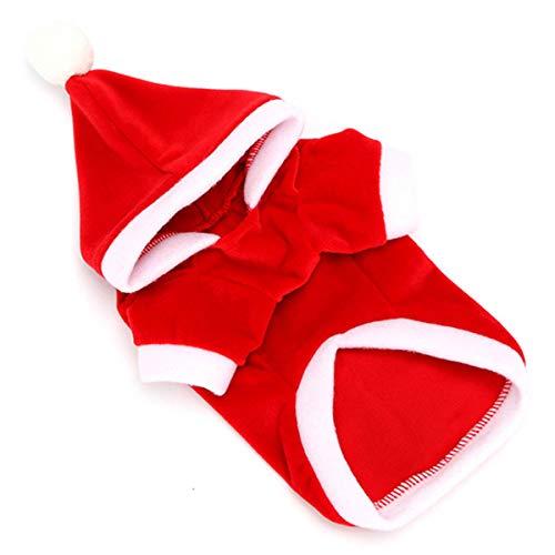 unbrand Weihnachten Pet Puppy Hooded Sweatshirts Hundekleidung Super Warm Costume Santa Claus Dress Up für Small Medium Large