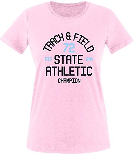 EZYshirt Track & Field Damen Rundhals T-Shirt Rosa/Schwarz/Hellbl