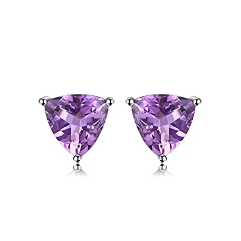 JewelryPalace Trillion 1.9ct Natürliche lila Amethyst Birthstone Bolzen Ohrringe Solid 925 Sterling Silber